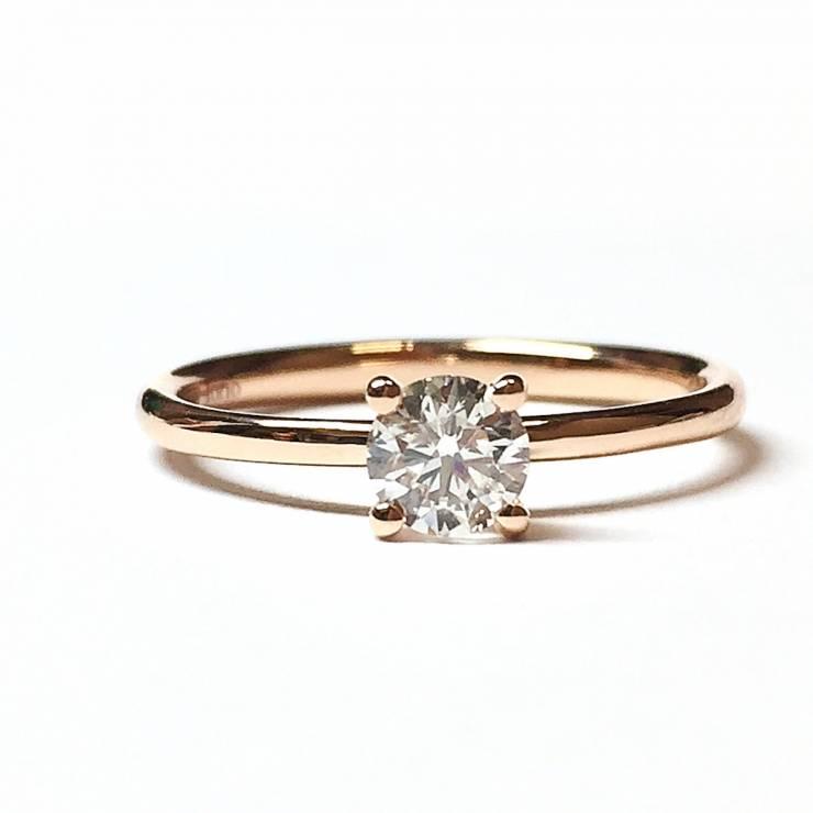 Solitario in oro rosa con diamante 0.36 ct – Colore G