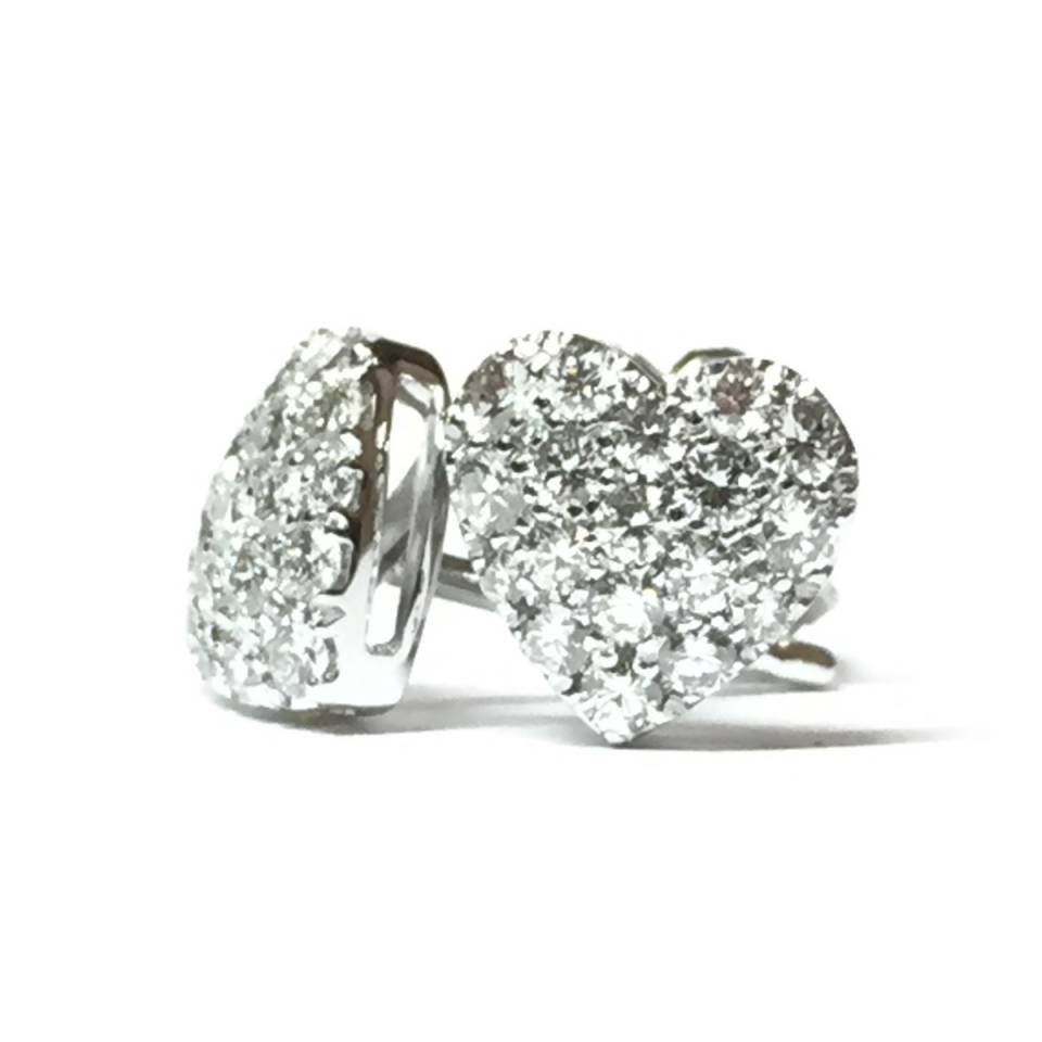 Orecchini cuore in oro bianco 18 kt e diamanti 0.45 ct – colore E