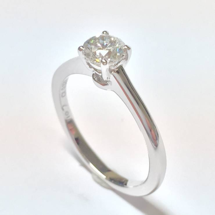 Solitario in oro bianco e diamanti 0.53 ct – Colore E – EXCELLENT CUT