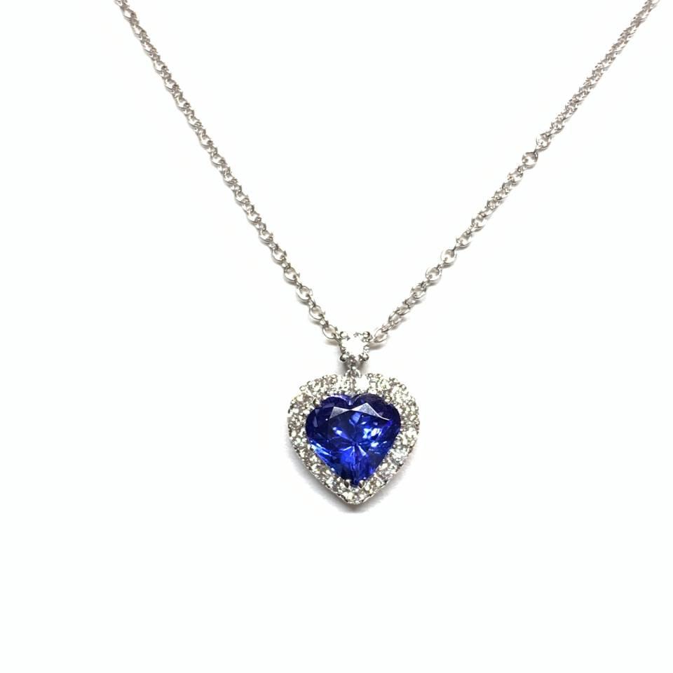Collana in oro bianco 18 kt Tanzanite top quality e Diamanti