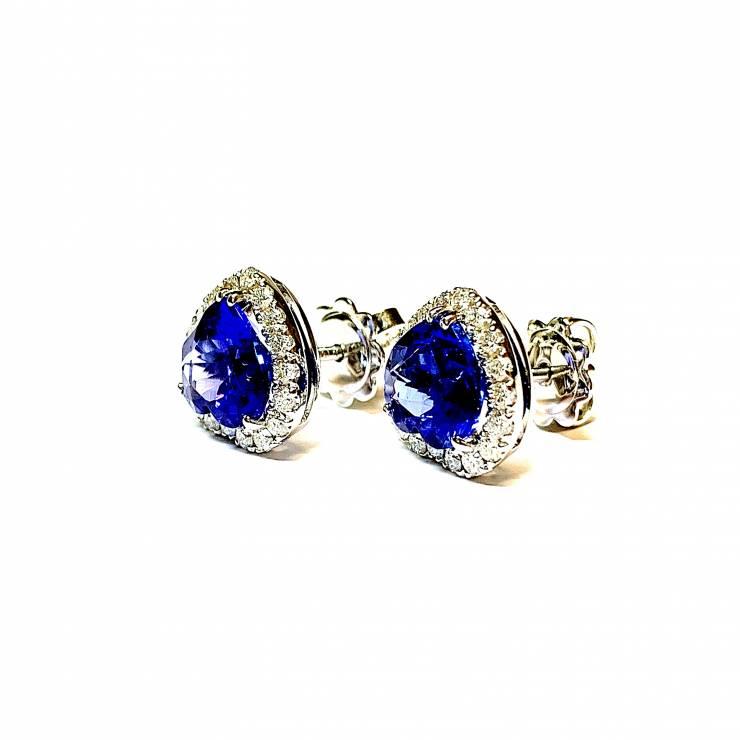 Orecchini oro bianco18 kt con Tanzaniti e Diamanti – colore E